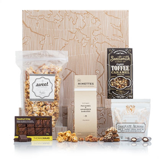 Gift with popcorn chocolate almonds and candy nuts
