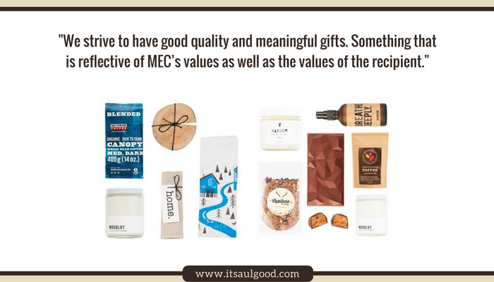 Pull quote and flat-lay image of sample products included in gift baskets